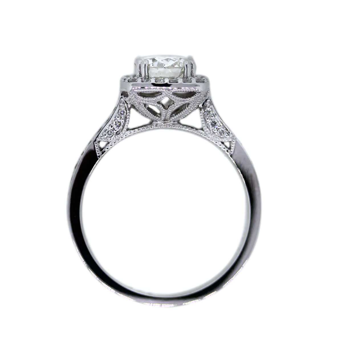 18K White Gold Round Brilliant Diamond Engagement Ring