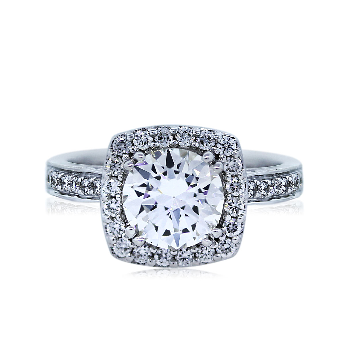 View This 0.93ct Round Brilliant Halo Set Diamond Ring!
