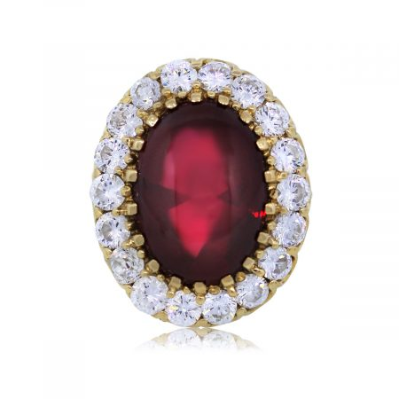 View This Red Glass Cubic Zirconia Ring Today!