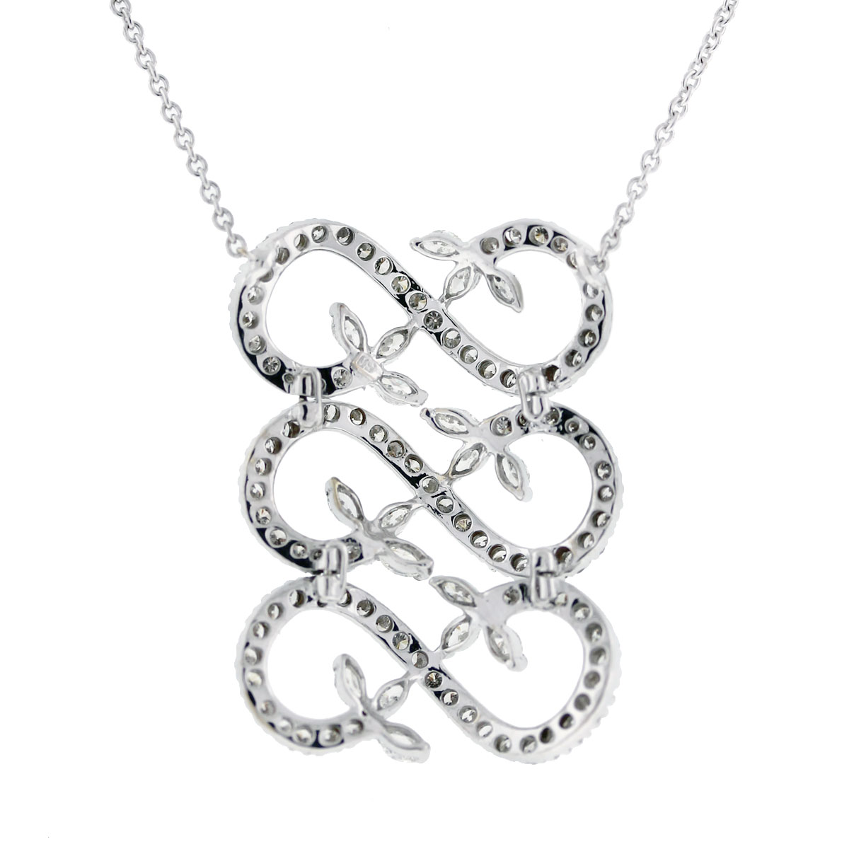 18kt White Gold Triple Infinity Round & Marquise Diamond Necklace
