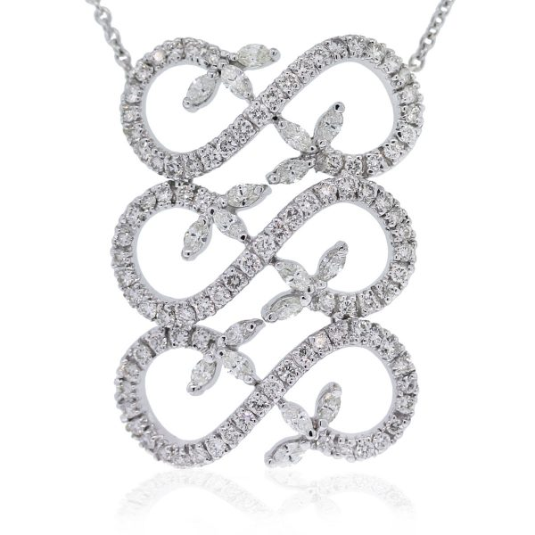 18kt White Gold Round Brilliant & Marquise Diamond Spiral Pendant Necklace
