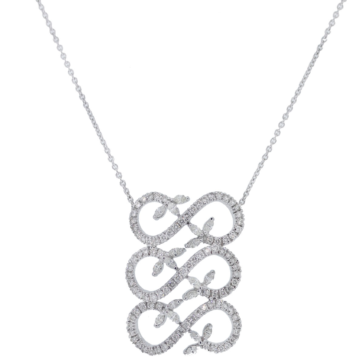 18kt White Gold Triple Infinity Round & Marquise Diamond Necklace Pendant