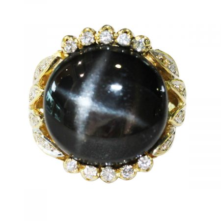 Star Diopside Diamond and Yellow Gold Ring