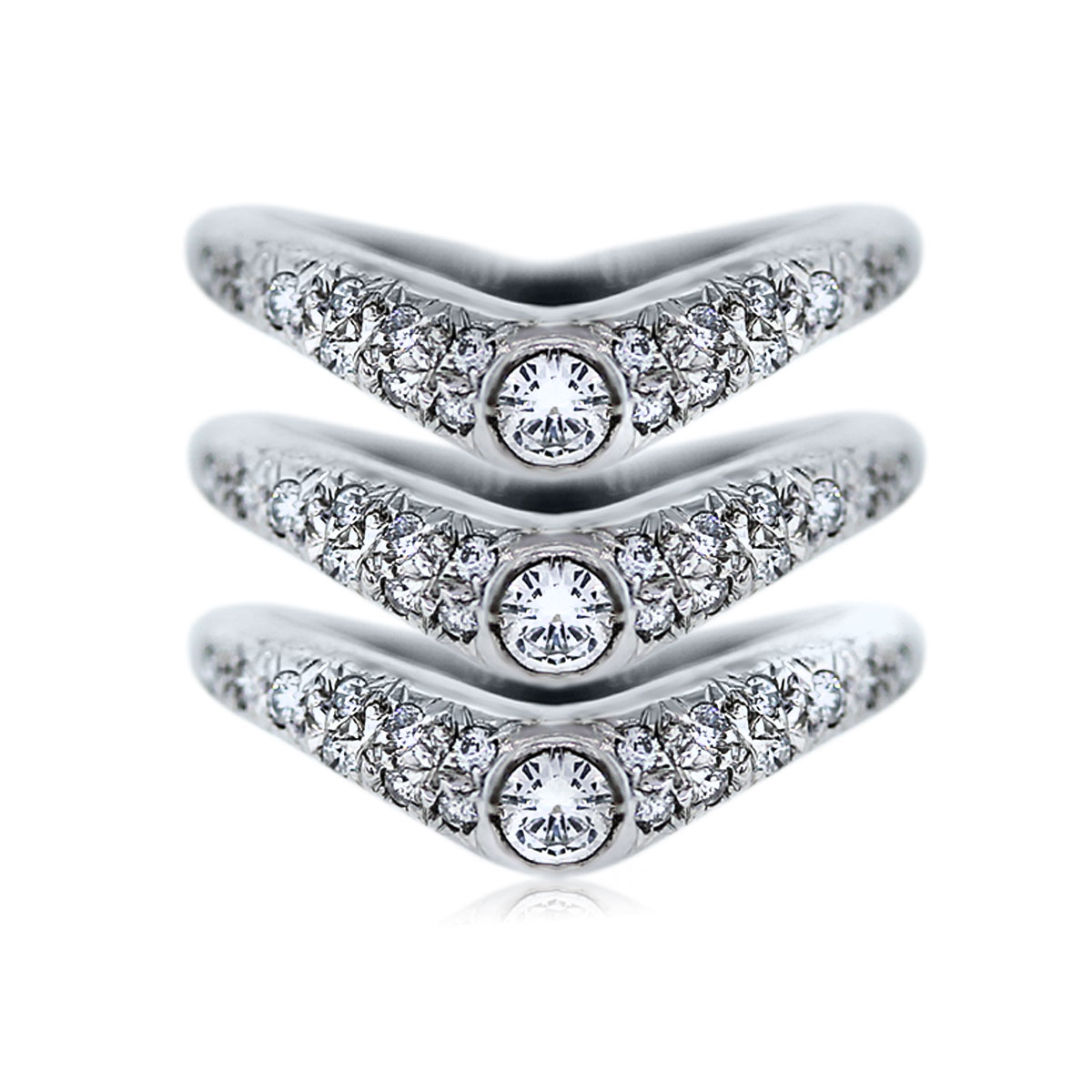 You are Viewing these 18k White Gold Diamond Stackable Rings!