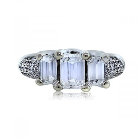 Look at This: Three Stone Emerald Cut Diamond Engagement Ring!