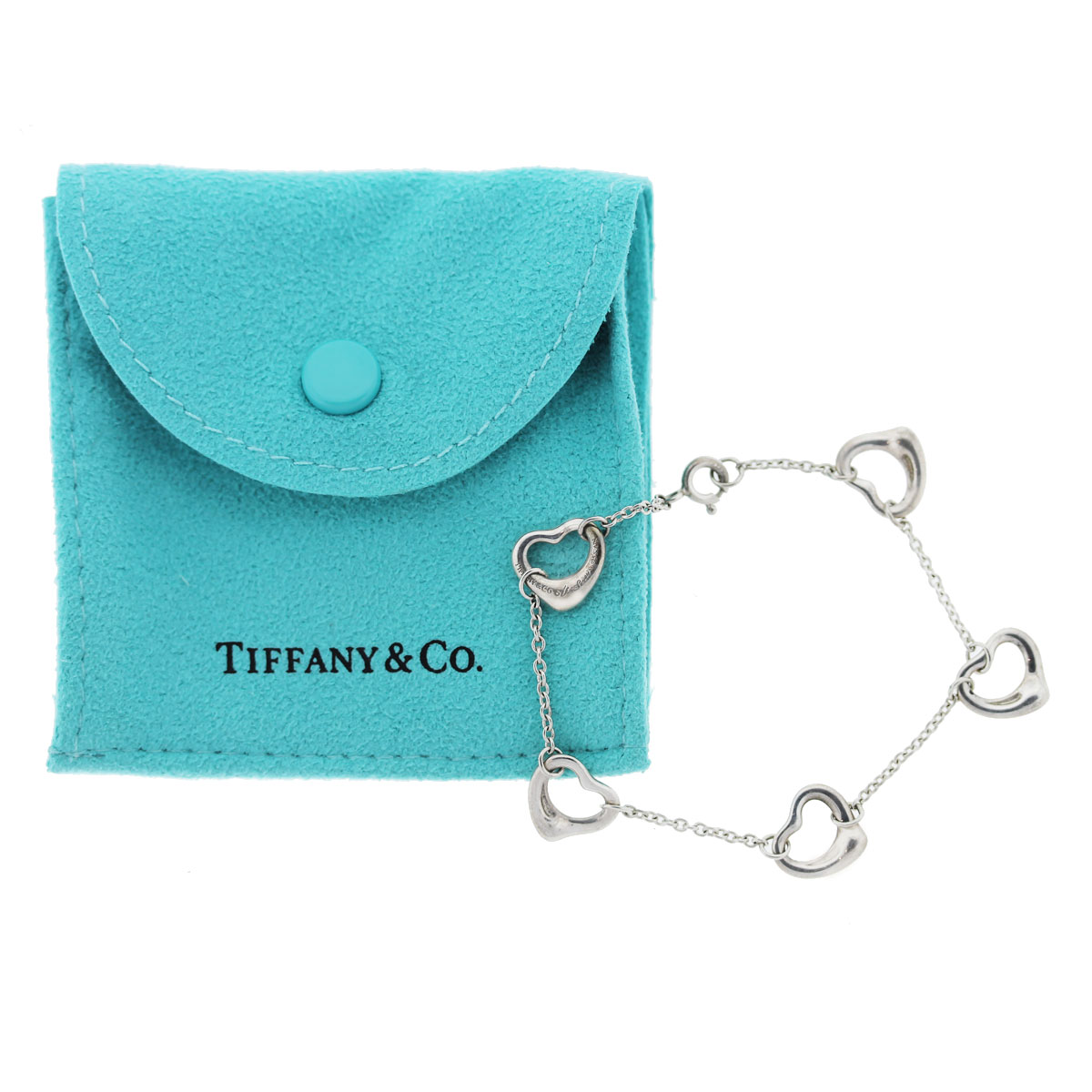 Tiffany and Co. Elsa Peretti Sterling Silver 5 Open Heart Bracelet with Pouch