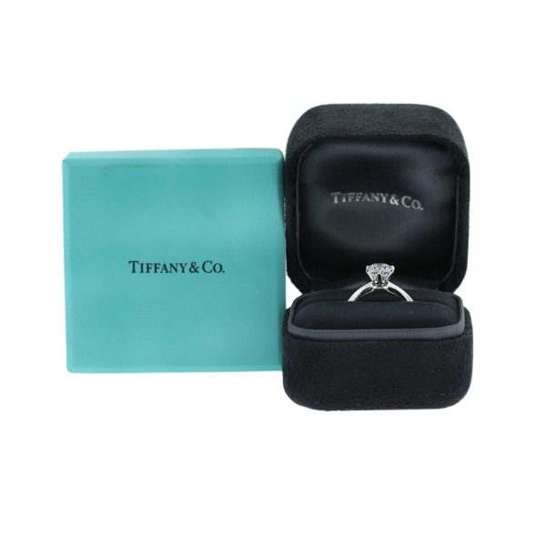 Tiffany and Co. Round Brilliant Diamond Platinum Engagement Ring box and papers