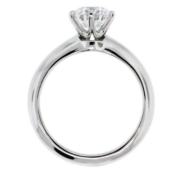 Tiffany and Co. Round Brilliant Diamond Platinum Engagement Ring front