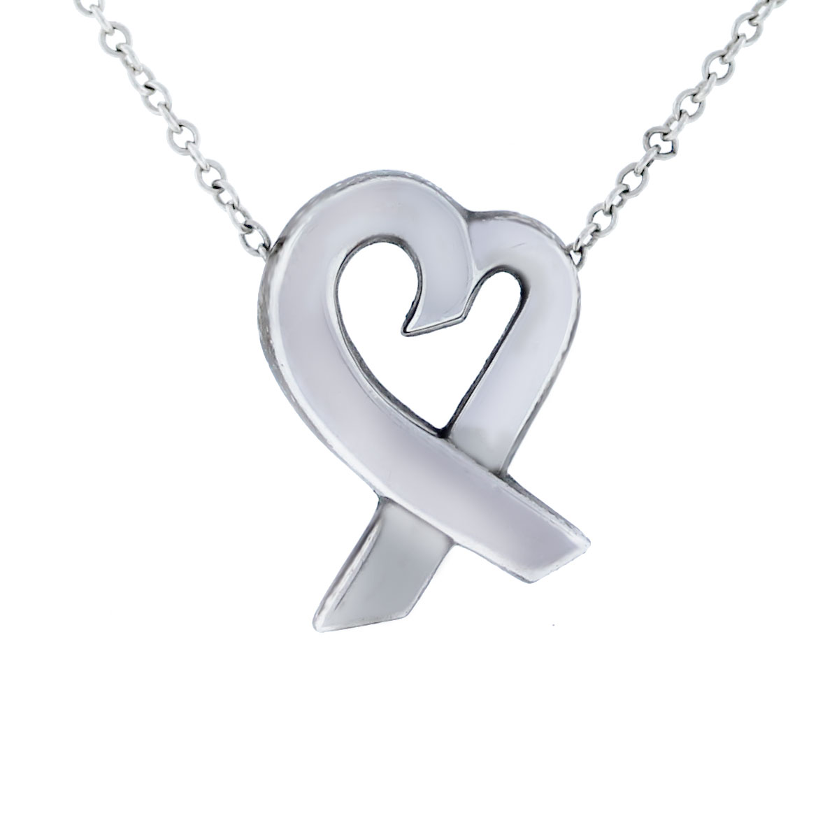 Tiffany & Co. Small Loving Heart Sterling Silver Pendant Necklace