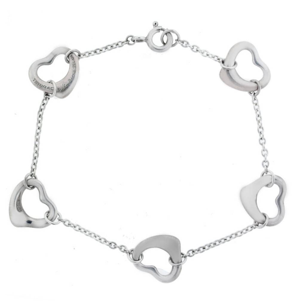 34115470a Tiffany and Co. Elsa Peretti Sterling Silver 5 Open Heart Bracelet
