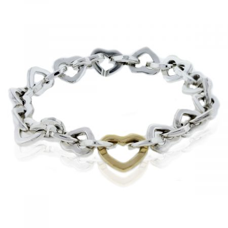 Tiffany and Co. Sterling Silver/18k Yellow Gold Heart Link Bracelet