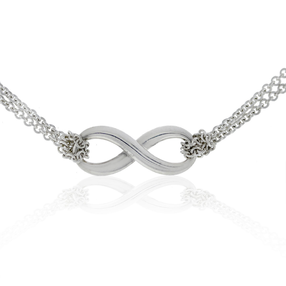 8c44451bd98c5 Tiffany and Co. Sterling Silver Infinity Double Chain Pendant Necklace