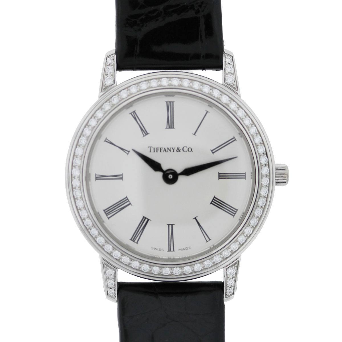 Tiffany & Co. Platinum & Diamond Silver Roman Dial Watch