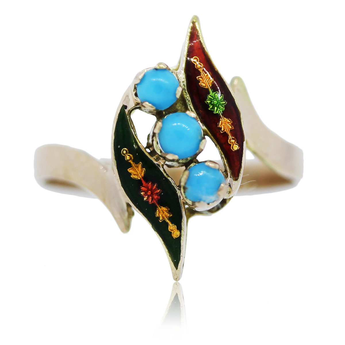 You are viewing this Yellow Gold and Enamel Turquise Ring!!