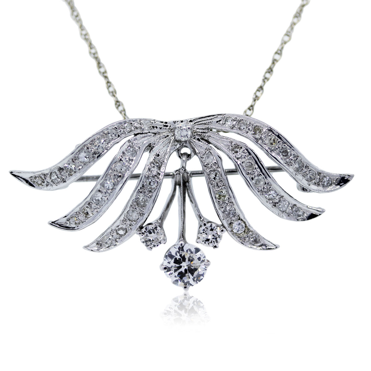 You are viewing this white gold vintage diamond pendant!!