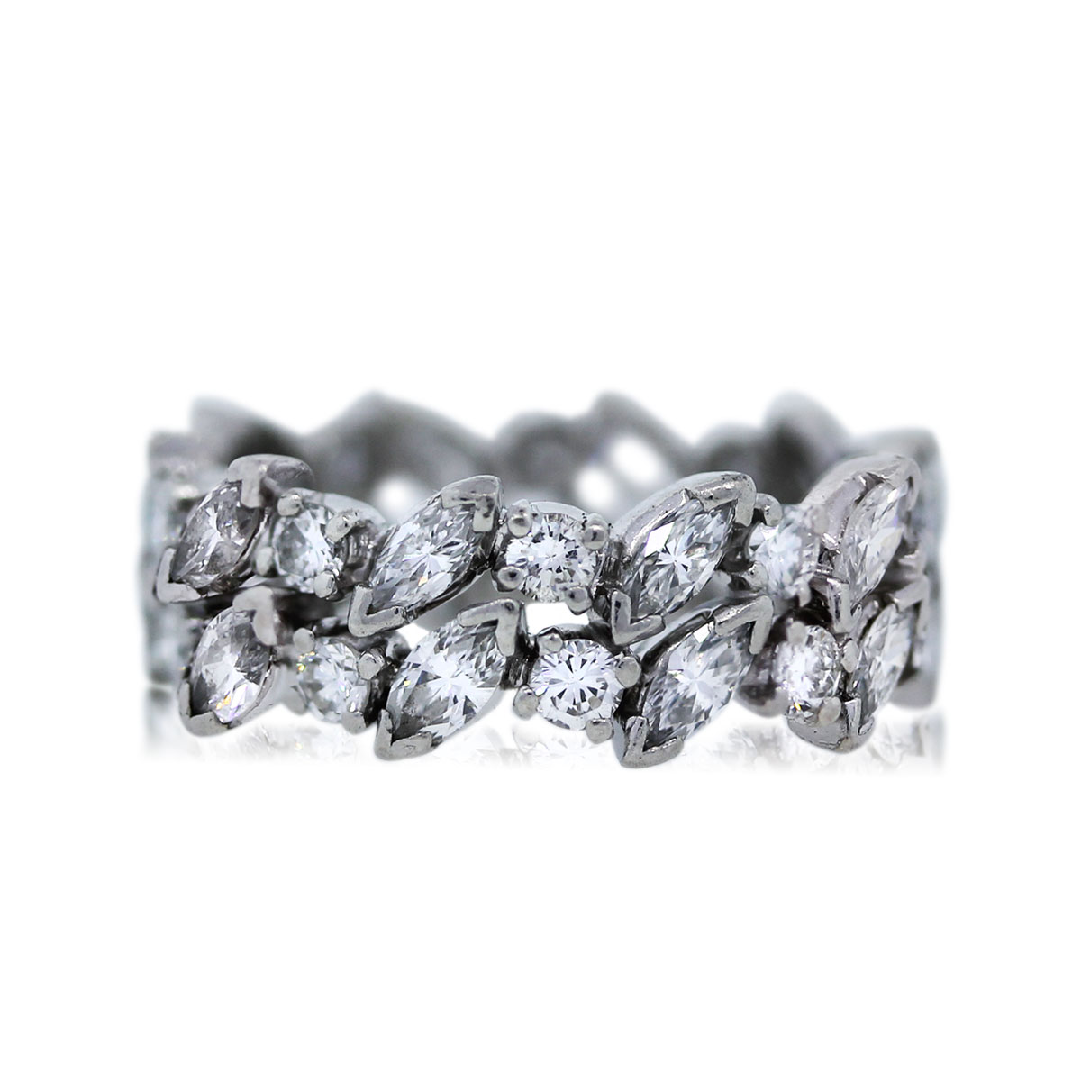 Marquise Ring Bands: Platinum Marquise And Round Cut Diamond Eternity Band Ring
