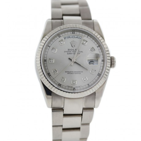 Rolex 118239 White Gold Day Date Diamond Dial Watch