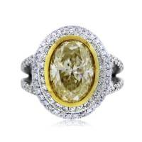 4.02ct Oval Fancy Light Yellow Diamond Engagement Ring