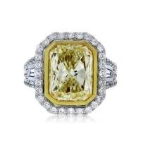 5.02ct Fancy Light Yellow Radiant Cut Diamond Engagement Ring