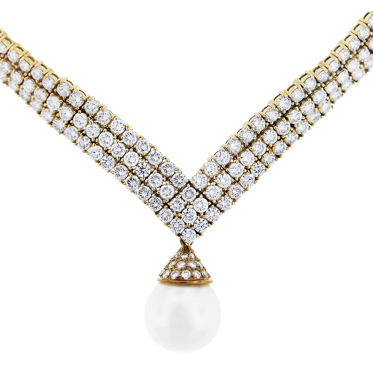 pearl diamond drop necklace