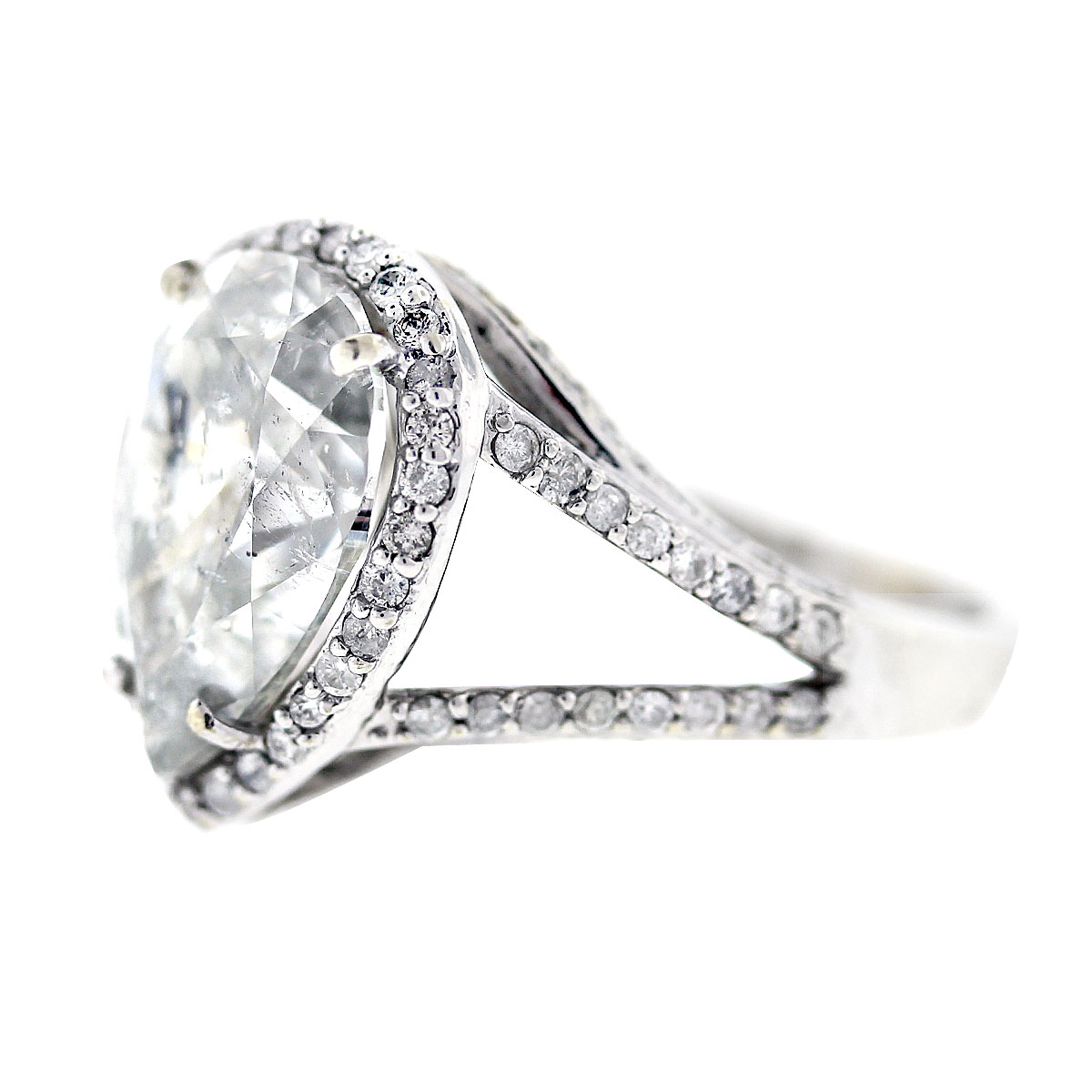 Pear Shaped Halo Engagement Ring: White Gold Pear Shaped Diamond Halo Style Pave Engagement Ring