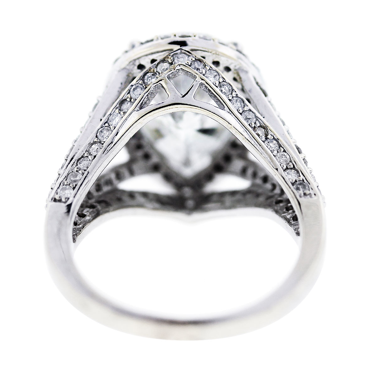 White Gold Pear Shaped Diamond Halo Style Pave Engagement Ring