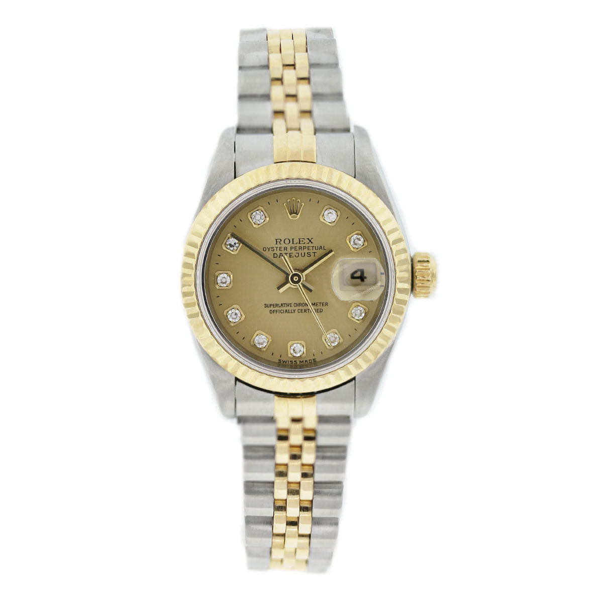 Two Tone Rolex Datejust Diamond Champagne Dial Watch