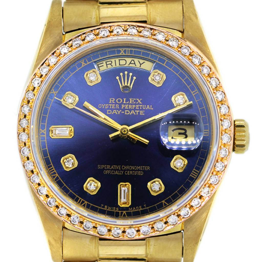 Rolex Presidential 18038 Blue Diamond Dial all Gold Watch ...