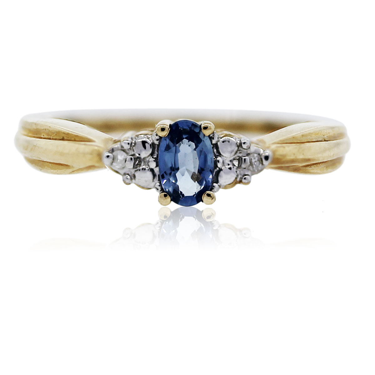 You are viewing this Yellow Gold Tanzanite and Diamond Ring!