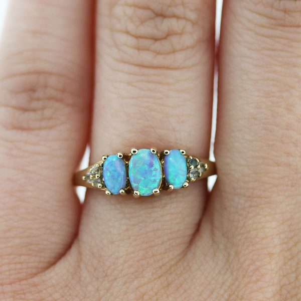 10kt Gold Diamond and Opal Ring