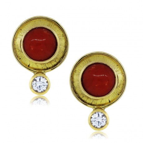 14k Yellow Gold Coral and Cubic Zirconia Post Earrings