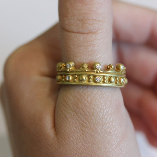 Diamond and Gold Crown Ring