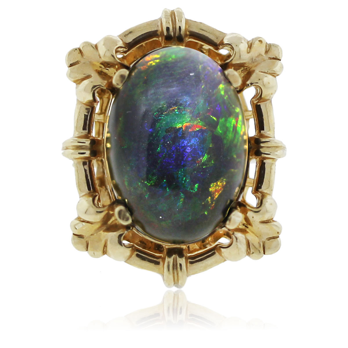 You are veiwing this yellow gold black opal cocktail ring!