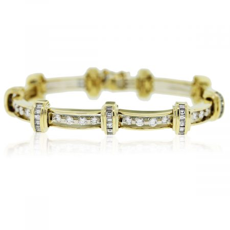 You are viewing this Yellow Gold Diamond Link Bracelet!!