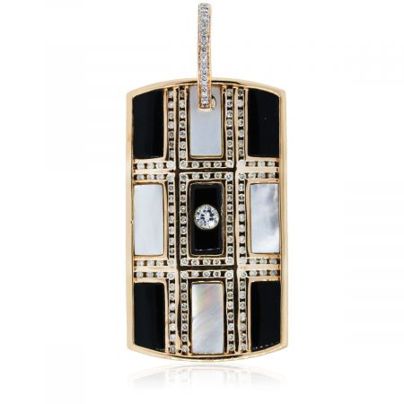 You are viewing this Rose Gold Diamond and Gemstone Dog Tag!