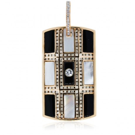14k Rose Gold Diamond, Onyx, and Mother Of Pearl Dog Tag