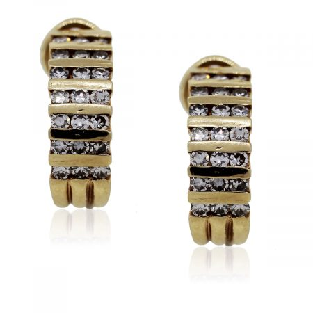 You are viewing these Yellow Gold Diamond Huggie Earrings!