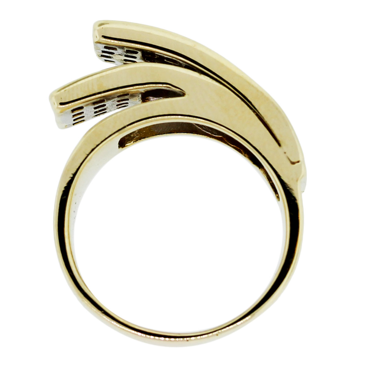 14k yellow gold channel set wave ring boca raton