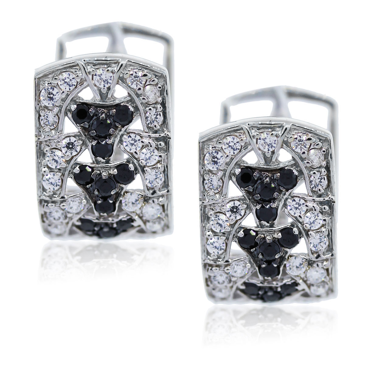 You are viewing these White Gold Black and White Diamond Earrings!