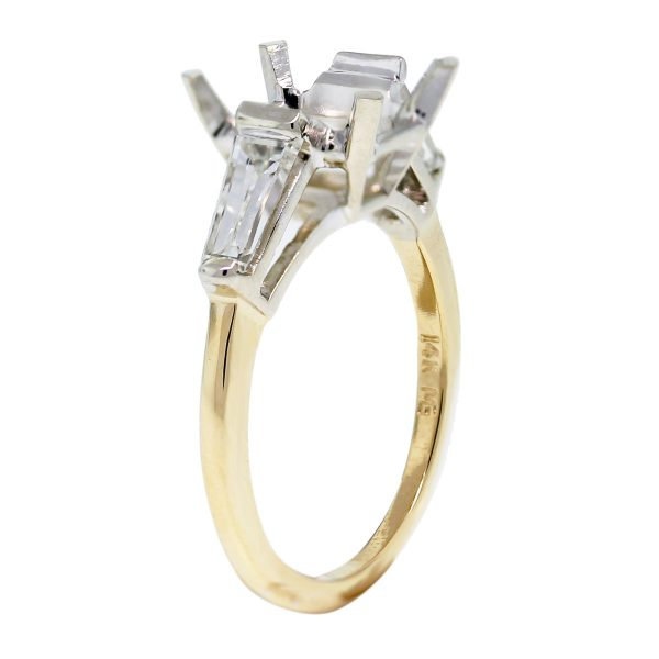 18k Two Tone Diamond Baguette Engagement Ring Mounting side