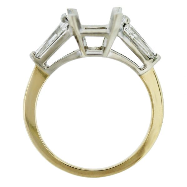 18k Two Tone Diamond Baguette Engagement Ring Mounting top