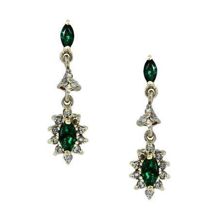 You are Viewing these Emerald and Diamond Dangle Earrings!