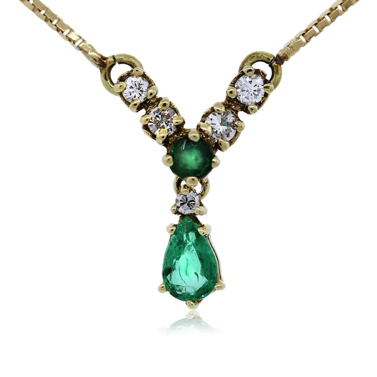 You are Viewing this Pear Shaped Emerald and Diamond Necklace !!