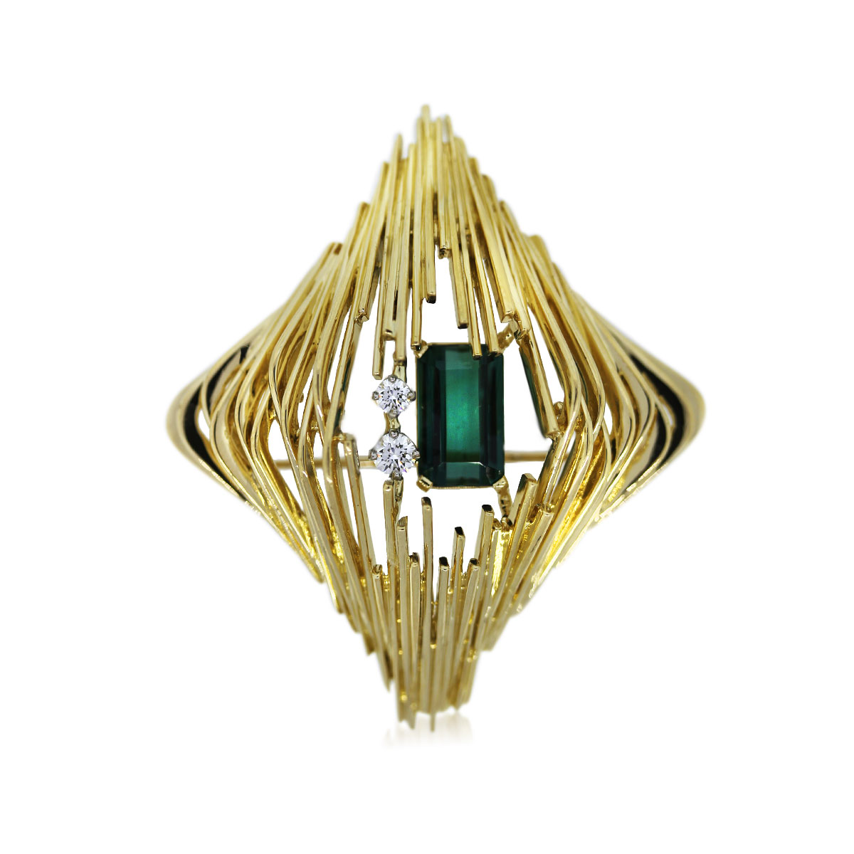 You are Viewing this 18k Yellow Gold Diamond and Green Tourmaline Pin!