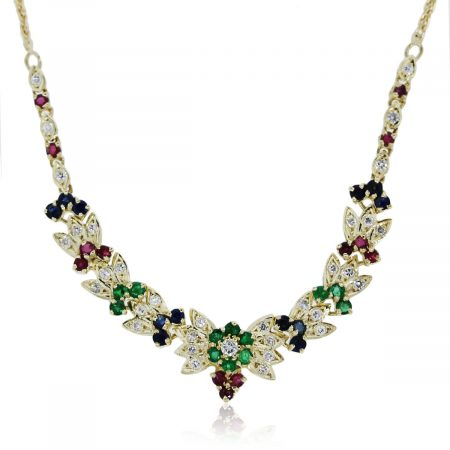 You are viewing this yellow gold diamond and multi gemstone necklace!