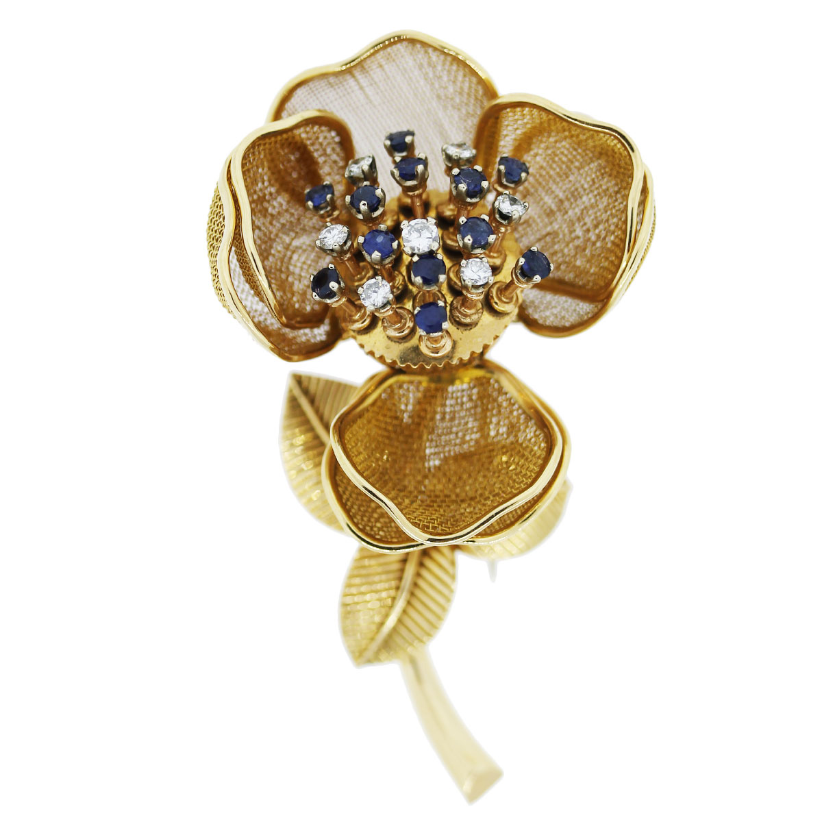 You are viewing this Yellow Gold Diamond and Sapphire Movable Flower Pin!