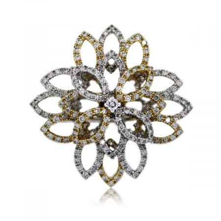 You are Viewing this 18k Two Tone Gold Diamond Flower Ring!