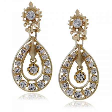 14kt Yellow Gold Round Cut Diamond Dangle Earrings