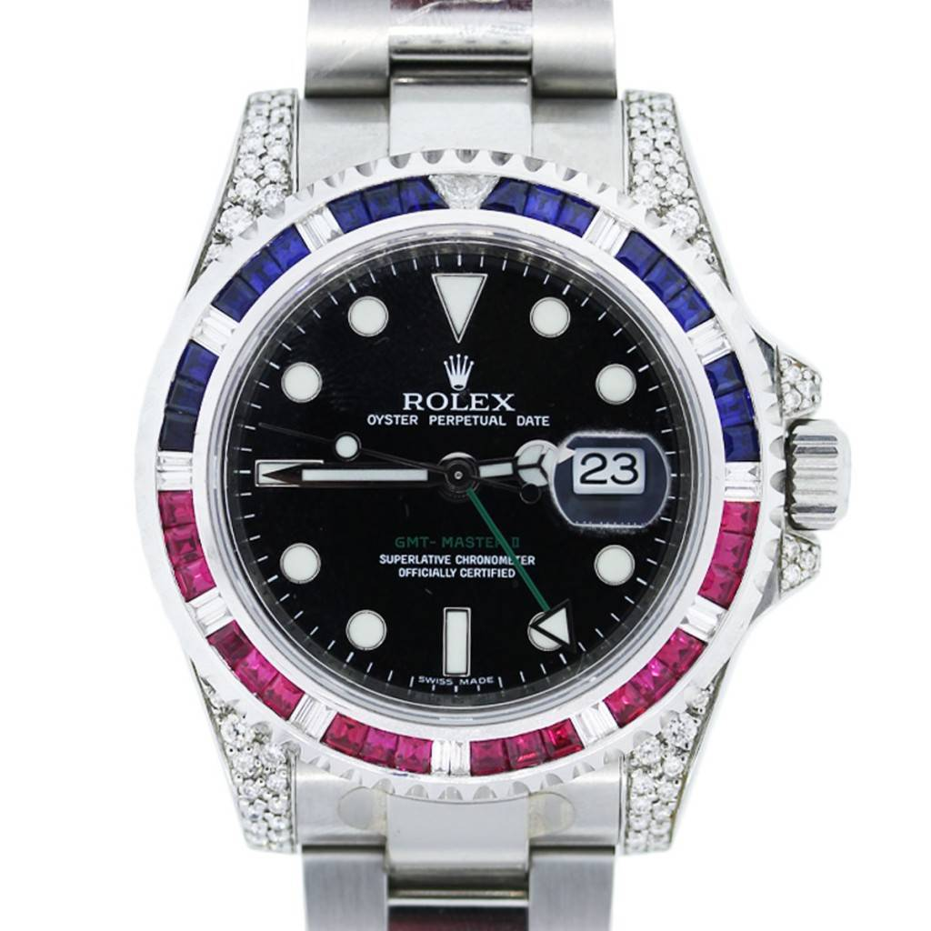 rolex gmt master ii watch with rubies sapphires and diamonds