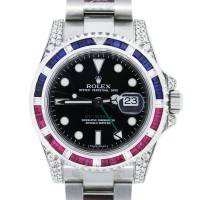 Rolex GMT Master II Watch with Rubies, Sapphires and Diamonds